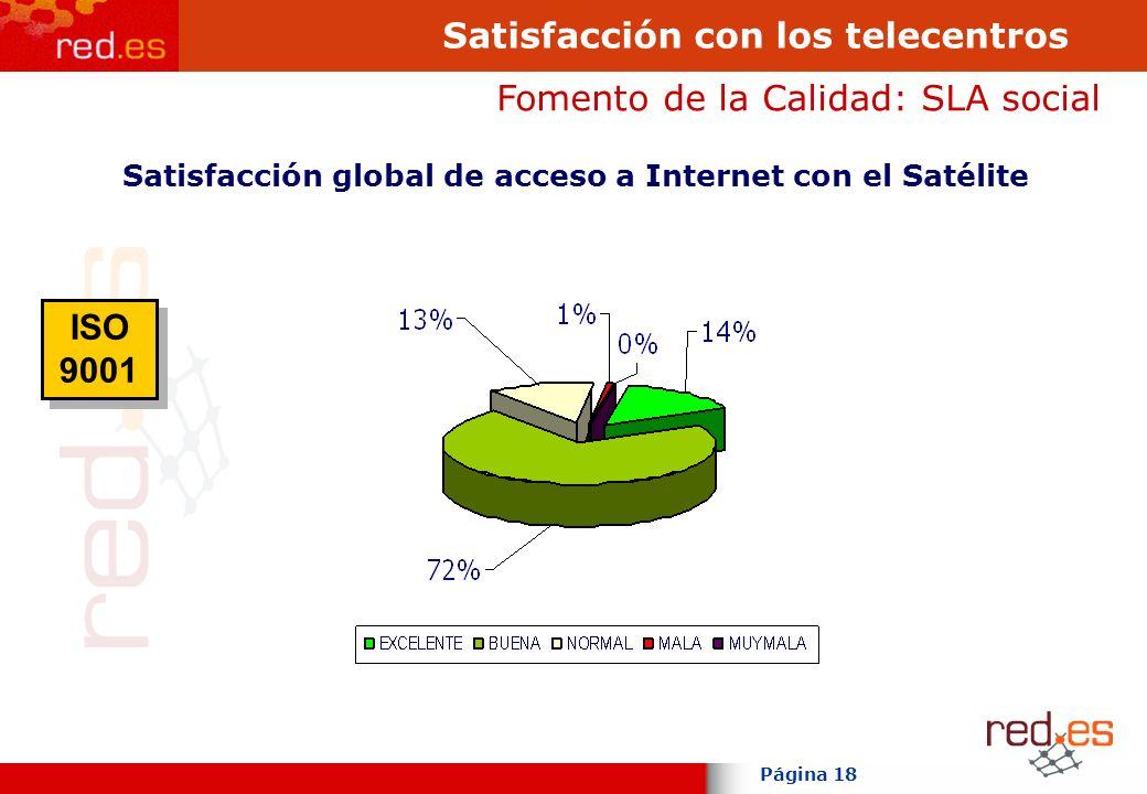 Página 18 Satisfacción con los telecentros Fomento de la Calidad: SLA social Satisfacción global de acceso a Internet con el Satélite ISO 9001 ISO 9001