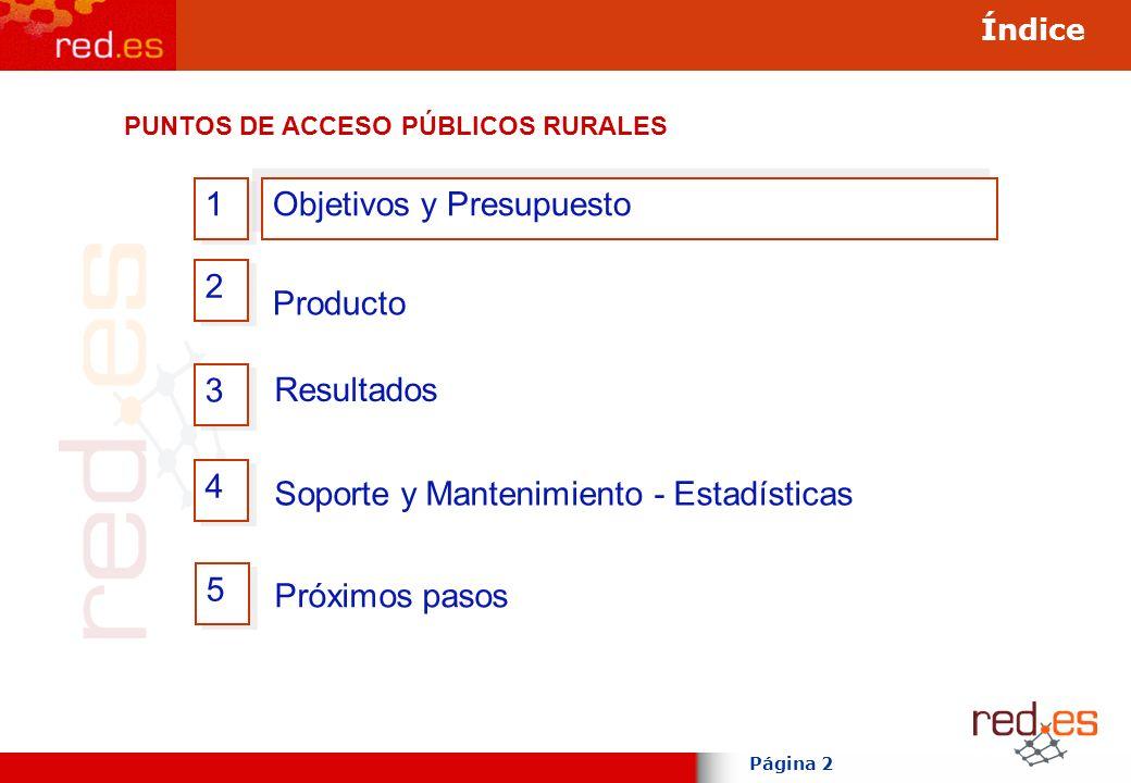 Página 2 Índice 3 3 Producto 2 2 4 4 Objetivos y Presupuesto 1 1 Soporte y Mantenimiento - Estadísticas Resultados 5 5 Próximos pasos PUNTOS DE ACCESO PÚBLICOS RURALES