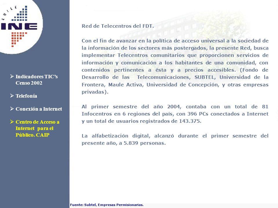Red de Telecentros del FDT. Con el fin de avanzar en la política de acceso universal a la sociedad de la información de los sectores más postergados,