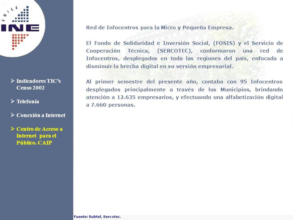 Red de Infocentros para la Micro y Pequeña Empresa. El Fondo de Solidaridad e Inversión Social, (FOSIS) y el Servicio de Cooperación Técnica, (SERCOTE