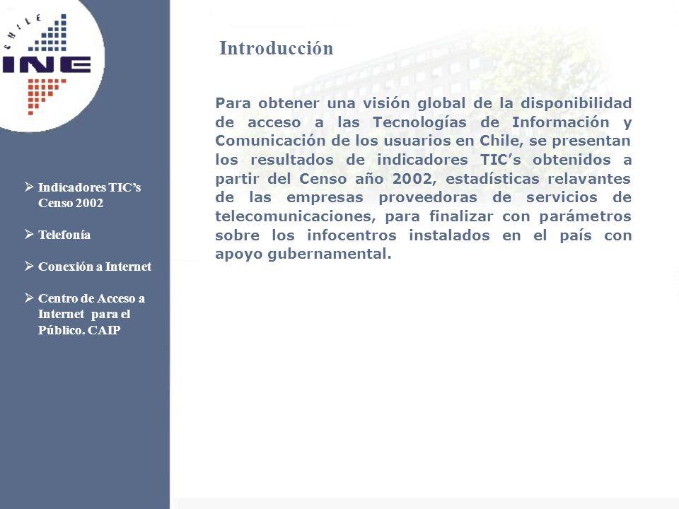 Para obtener una visión global de la disponibilidad de acceso a las Tecnologías de Información y Comunicación de los usuarios en Chile, se presentan los resultados de indicadores TICs obtenidos a partir del Censo año 2002, estadísticas relavantes de las empresas proveedoras de servicios de telecomunicaciones, para finalizar con parámetros sobre los infocentros instalados en el país con apoyo gubernamental.