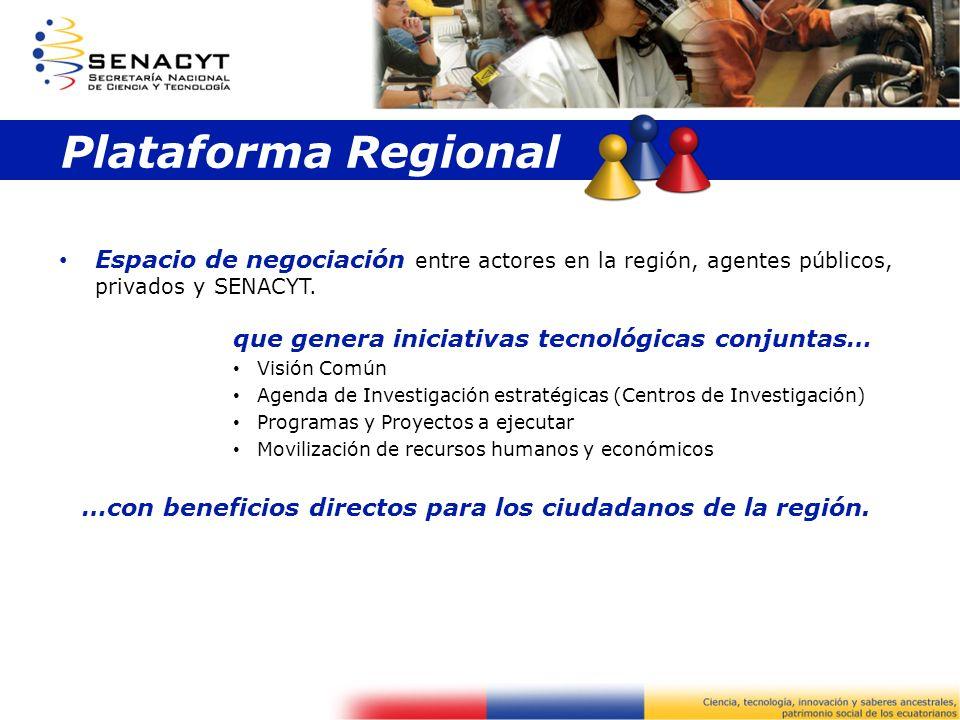 Plataforma Regional Espacio de negociación entre actores en la región, agentes públicos, privados y SENACYT. que genera iniciativas tecnológicas conju