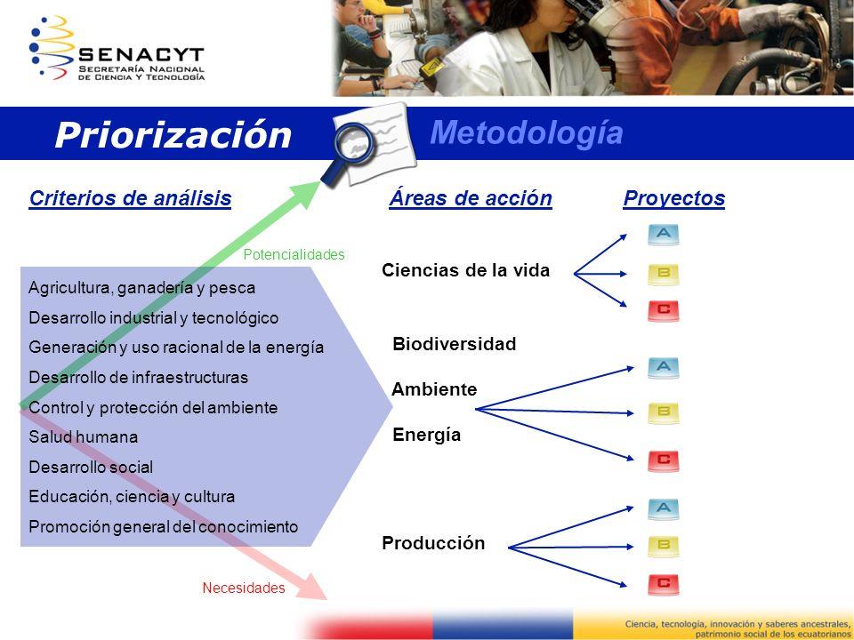 Agricultura, ganadería y pesca Desarrollo industrial y tecnológico Generación y uso racional de la energía Desarrollo de infraestructuras Control y pr