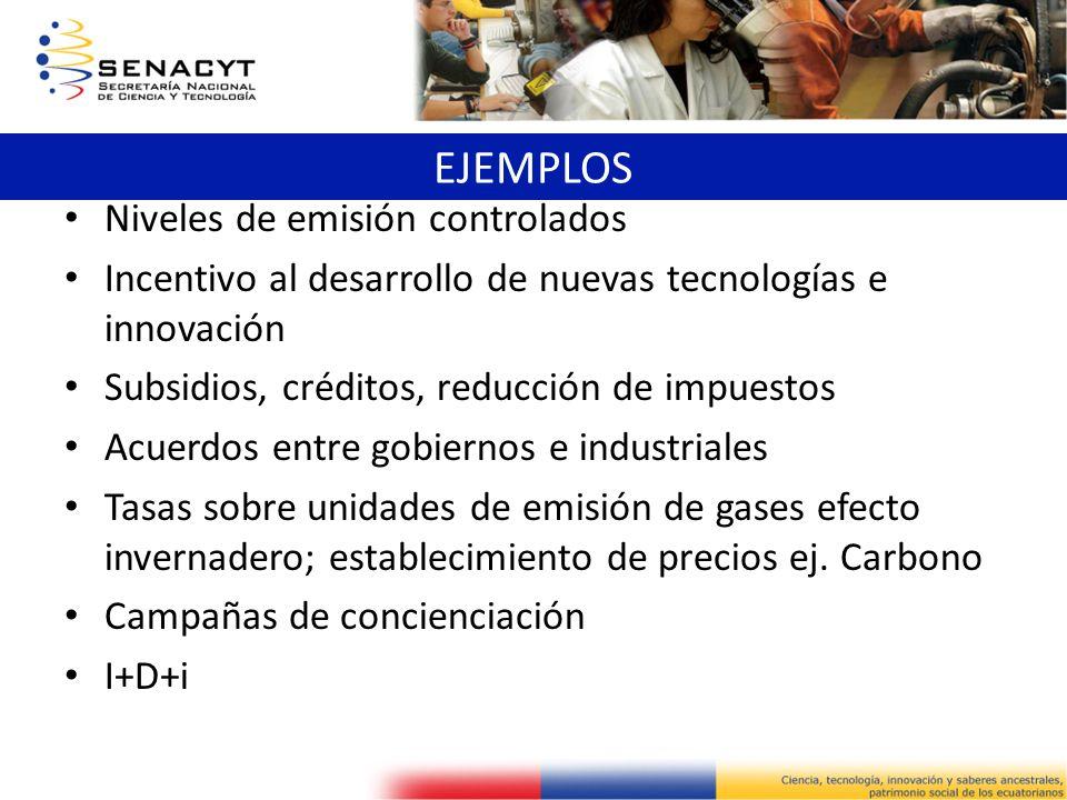 Niveles de emisión controlados Incentivo al desarrollo de nuevas tecnologías e innovación Subsidios, créditos, reducción de impuestos Acuerdos entre g