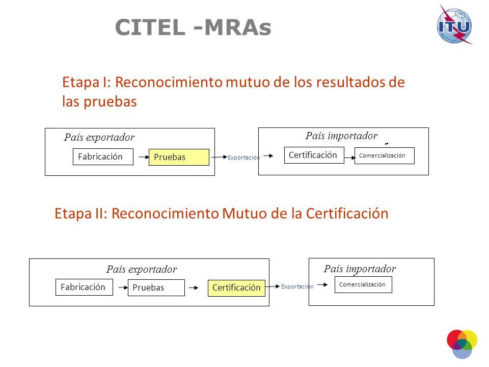 Etapa II: Reconocimiento Mutuo de la Certificación Etapa I: Reconocimiento mutuo de los resultados de las pruebas País importador Certificación Comercialización Pruebas Fabricación País exportador Exportación Comercialización País importador Pruebas Fabricación País exportador Exportación Certificación CITEL -MRAs