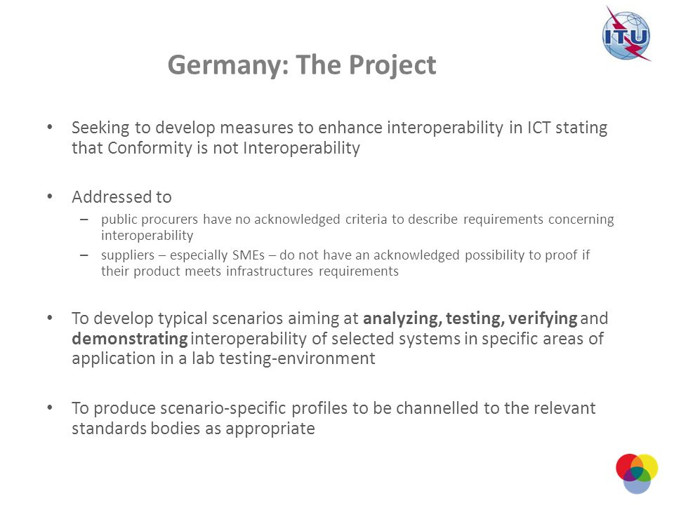 Germany: The Project Seeking to develop measures to enhance interoperability in ICT stating that Conformity is not Interoperability Addressed to – pub