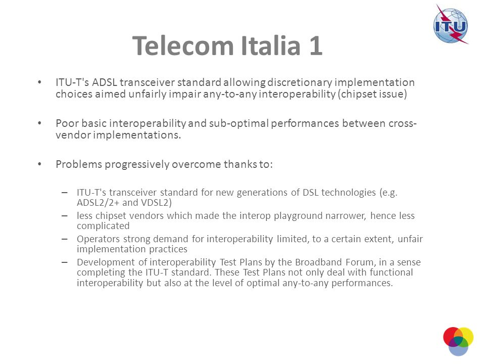 Telecom Italia 1 ITU-T's ADSL transceiver standard allowing discretionary implementation choices aimed unfairly impair any-to-any interoperability (ch