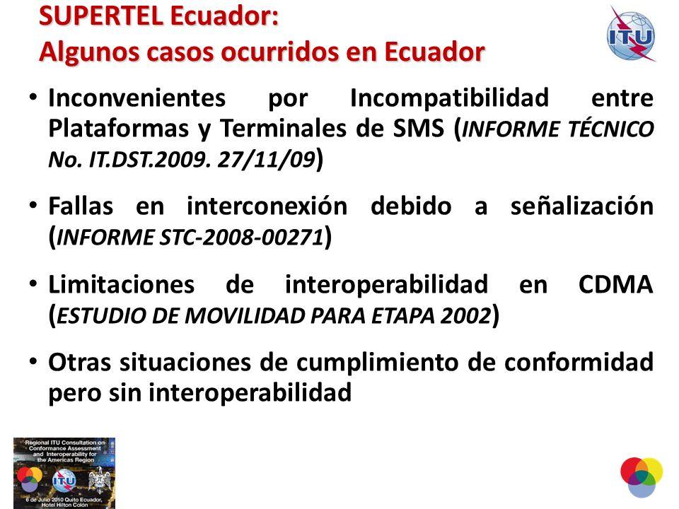 Inconvenientes por Incompatibilidad entre Plataformas y Terminales de SMS ( INFORME TÉCNICO No.