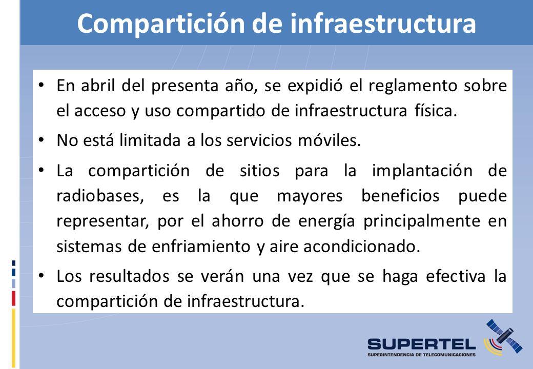 Compartición de infraestructura En abril del presenta año, se expidió el reglamento sobre el acceso y uso compartido de infraestructura física. No est