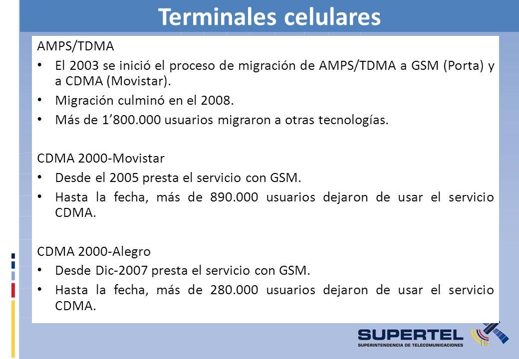 Terminales celulares AMPS/TDMA El 2003 se inició el proceso de migración de AMPS/TDMA a GSM (Porta) y a CDMA (Movistar). Migración culminó en el 2008.