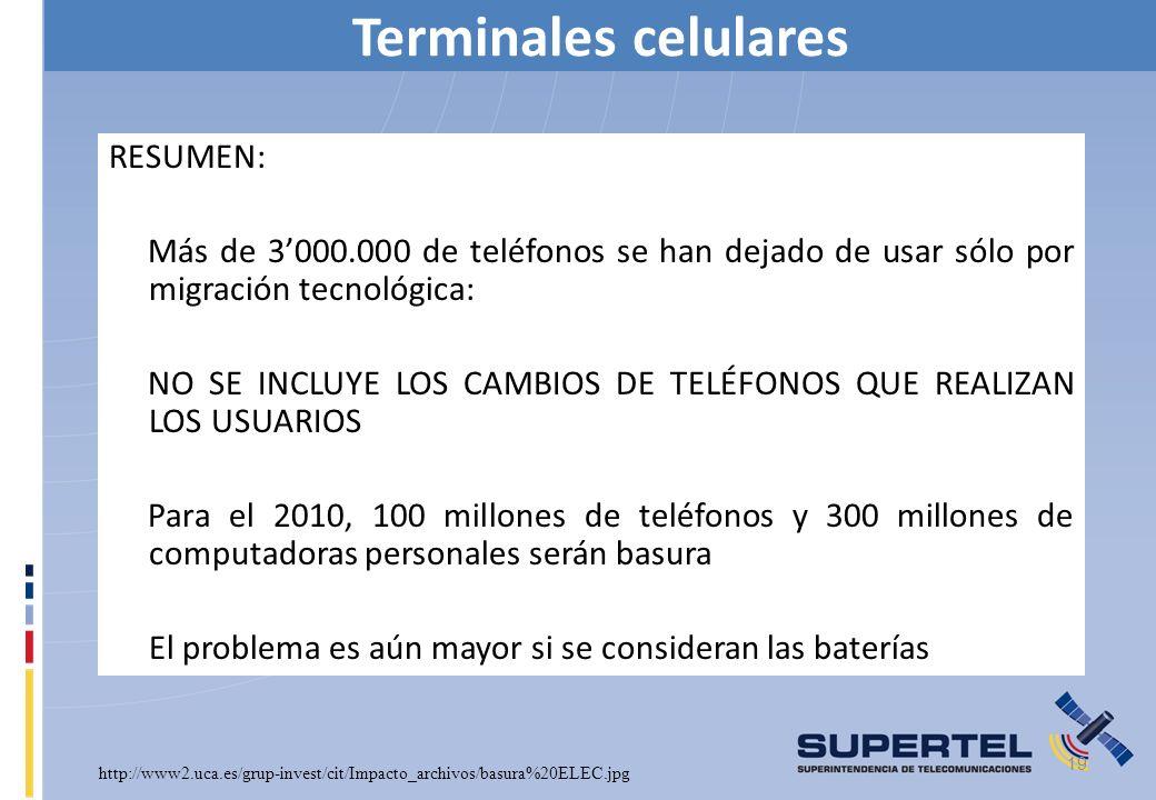 Terminales celulares 19 RESUMEN: Más de 3000.000 de teléfonos se han dejado de usar sólo por migración tecnológica: NO SE INCLUYE LOS CAMBIOS DE TELÉF