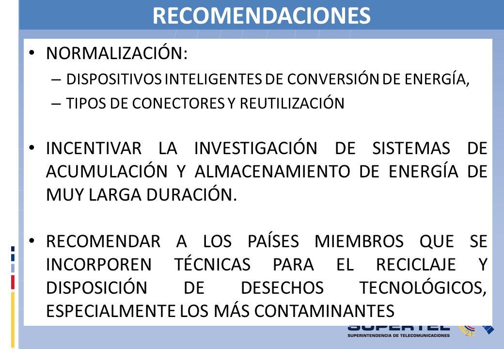RECOMENDACIONES NORMALIZACIÓN: – DISPOSITIVOS INTELIGENTES DE CONVERSIÓN DE ENERGÍA, – TIPOS DE CONECTORES Y REUTILIZACIÓN INCENTIVAR LA INVESTIGACIÓN