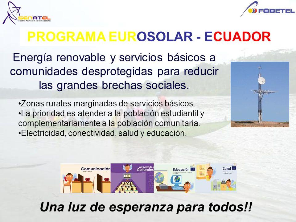 PROGRAMA EUROSOLAR - ECUADOR Energía renovable y servicios básicos a comunidades desprotegidas para reducir las grandes brechas sociales. Una luz de e