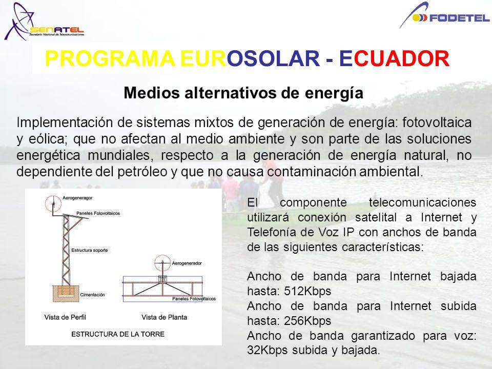 Medios alternativos de energía Implementación de sistemas mixtos de generación de energía: fotovoltaica y eólica; que no afectan al medio ambiente y s