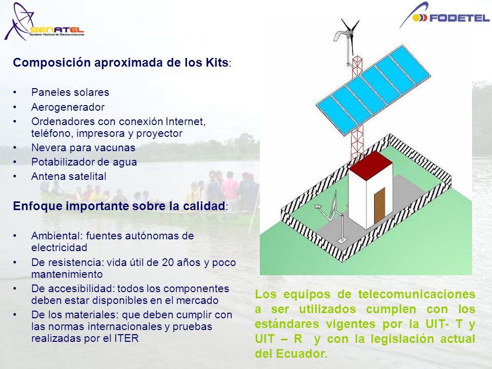 Los equipos de telecomunicaciones a ser utilizados cumplen con los estándares vigentes por la UIT- T y UIT – R y con la legislación actual del Ecuador