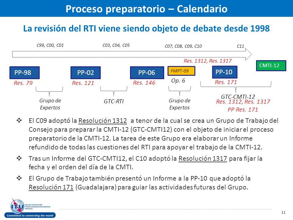 La revisión del RTI viene siendo objeto de debate desde 1998 11 PP-98 PP-02 PP-06 PP-10 Res.