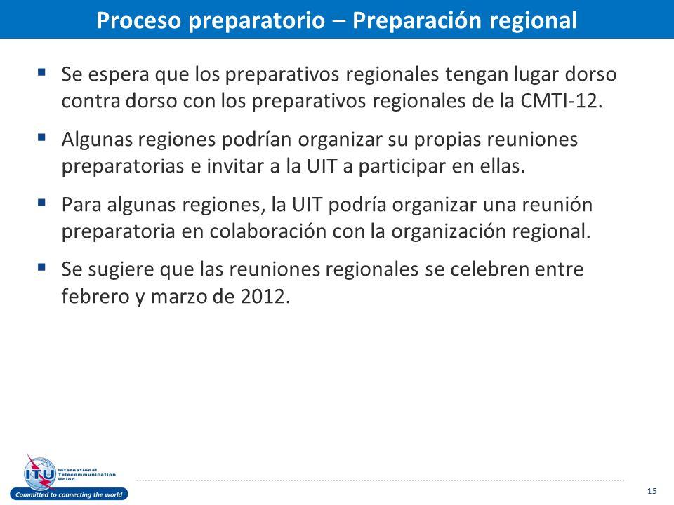 Proceso preparatorio – Preparación regional Se espera que los preparativos regionales tengan lugar dorso contra dorso con los preparativos regionales de la CMTI-12.