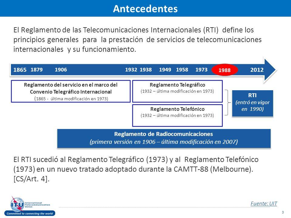 El Reglamento de las Telecomunicaciones Internacionales (RTI) define los principios generales para la prestación de servicios de telecomunicaciones internacionales y su funcionamiento.