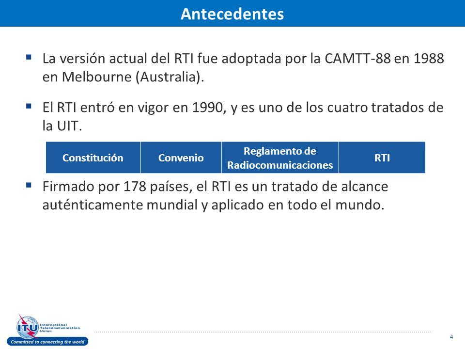 Antecedentes La versión actual del RTI fue adoptada por la CAMTT-88 en 1988 en Melbourne (Australia).