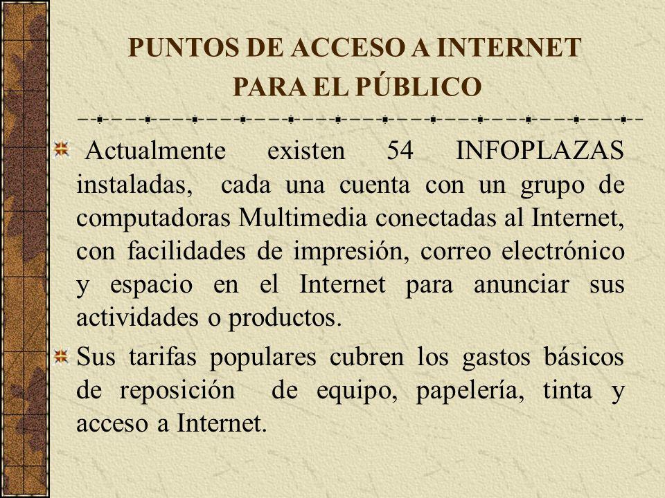 Actualmente existen 54 INFOPLAZAS instaladas, cada una cuenta con un grupo de computadoras Multimedia conectadas al Internet, con facilidades de impre