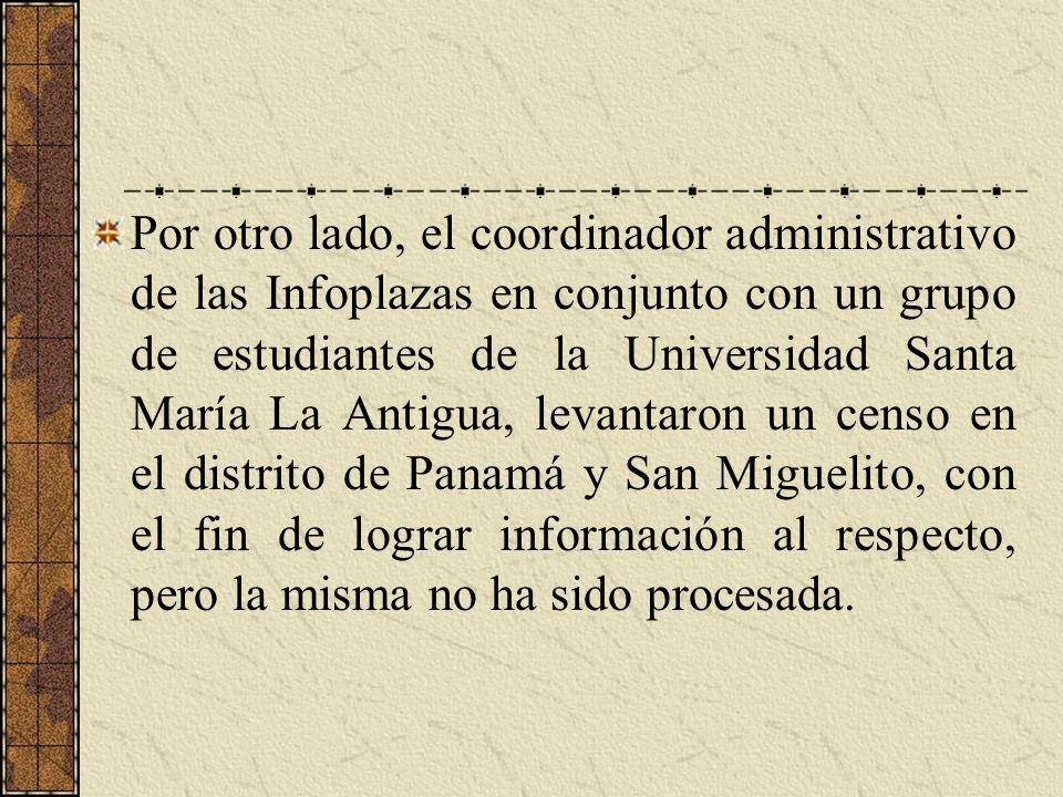 Por otro lado, el coordinador administrativo de las Infoplazas en conjunto con un grupo de estudiantes de la Universidad Santa María La Antigua, levan