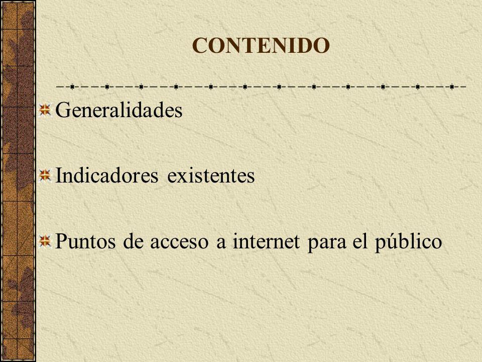 CONTENIDO Generalidades Indicadores existentes Puntos de acceso a internet para el público
