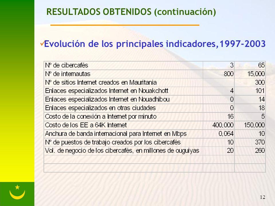 12 RESULTADOS OBTENIDOS (continuación) Evolución de los principales indicadores,1997-2003