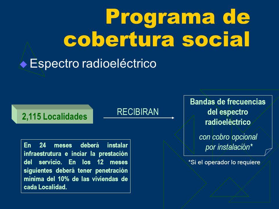 Espectro radioeléctrico Programa de cobertura social RECIBIRAN 2,115 Localidades Bandas de frecuencias del espectro radioeléctrico con cobro opcional por instalación* *Si el operador lo requiere En 24 meses deberá instalar infraestrutura e inciar la prestación del servicio.