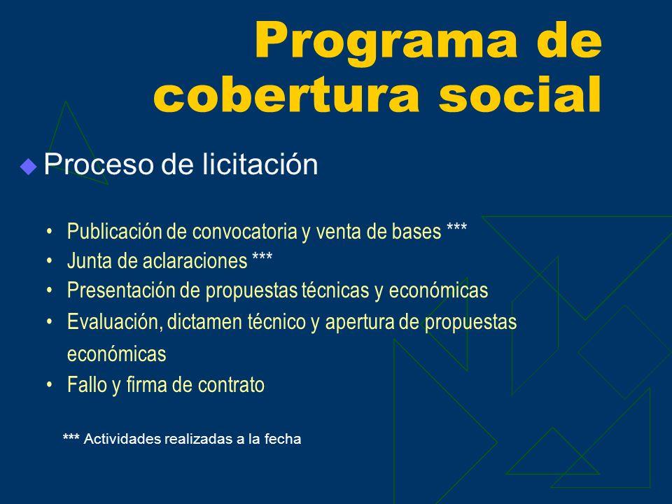 Proceso de licitación Programa de cobertura social Publicación de convocatoria y venta de bases *** Junta de aclaraciones *** Presentación de propuest