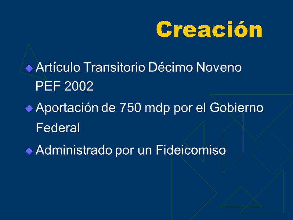 Creación Artículo Transitorio Décimo Noveno PEF 2002 Aportación de 750 mdp por el Gobierno Federal Administrado por un Fideicomiso