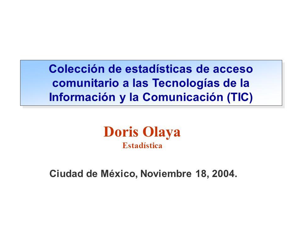 Normalización y armonización de indicadores relacionados con TIC Búsqueda de Estadísticas de Acceso Comunitario OSILAC – Observatorio para la Sociedad de la Información en Latinoamérica y el Caribe...Uno de los propósitos principales: Búsqueda de estadísticas sobre: Oferta de Centros de acceso público a Internet Demanda por parte de los usuarios