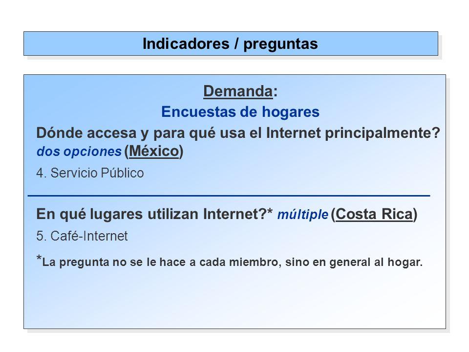 Demanda: Encuestas de hogares Dónde accesa y para qué usa el Internet principalmente.