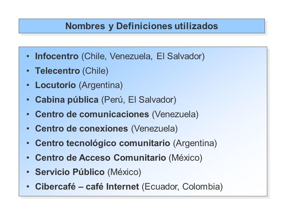 Infocentros: centros locales de conectividad, en los cuales se puede acceder a servicios de información, a diversos tipo de comunicación, de educación y capacitación a distancia, preferentemente en zonas rurales o aisladas geográficamente.