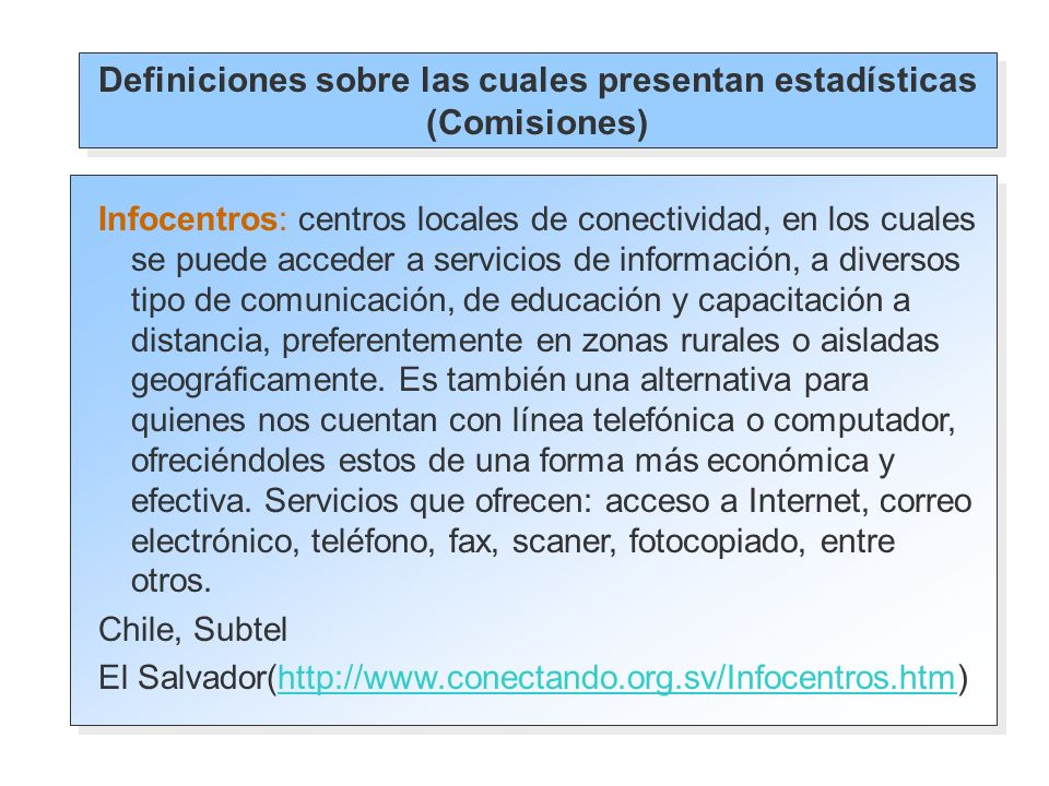 Opciones de lugares para uso de internet presentes en las e ncuestas