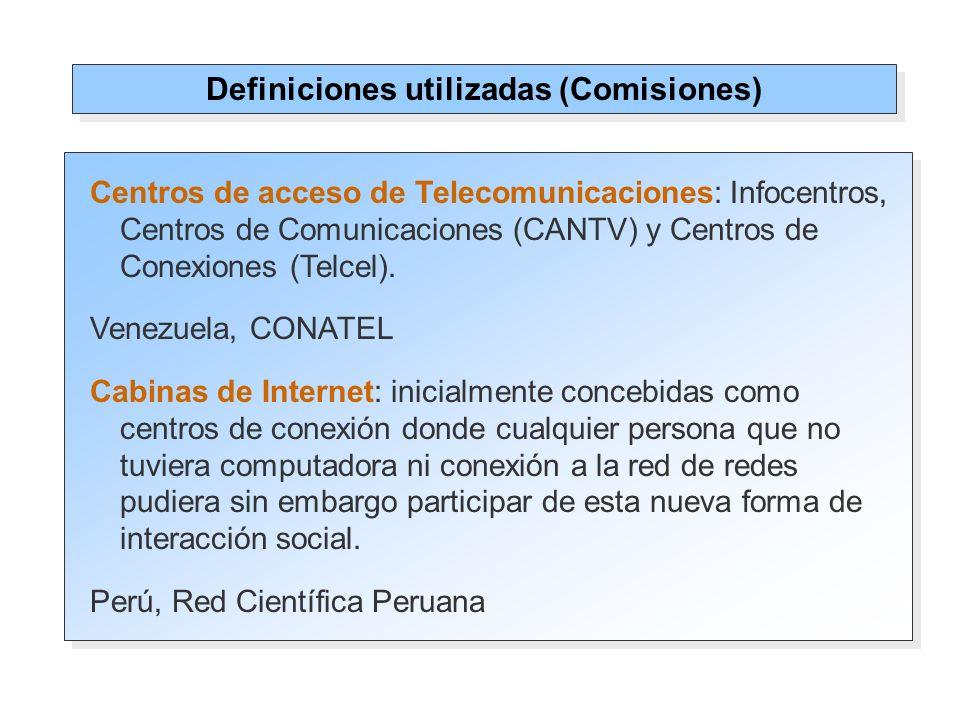 Centros de acceso de Telecomunicaciones: Infocentros, Centros de Comunicaciones (CANTV) y Centros de Conexiones (Telcel).