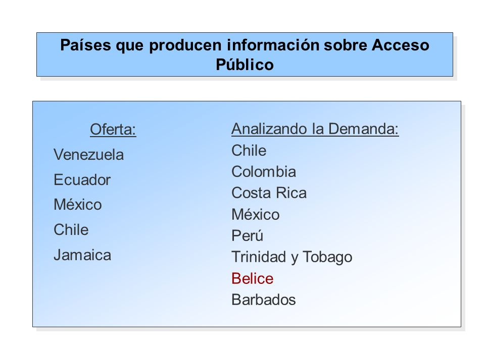 Oferta: Venezuela: Número de centros de acceso de telecomunicaciones Chile: Número de infocentros (incluye bibliotecas públicas.