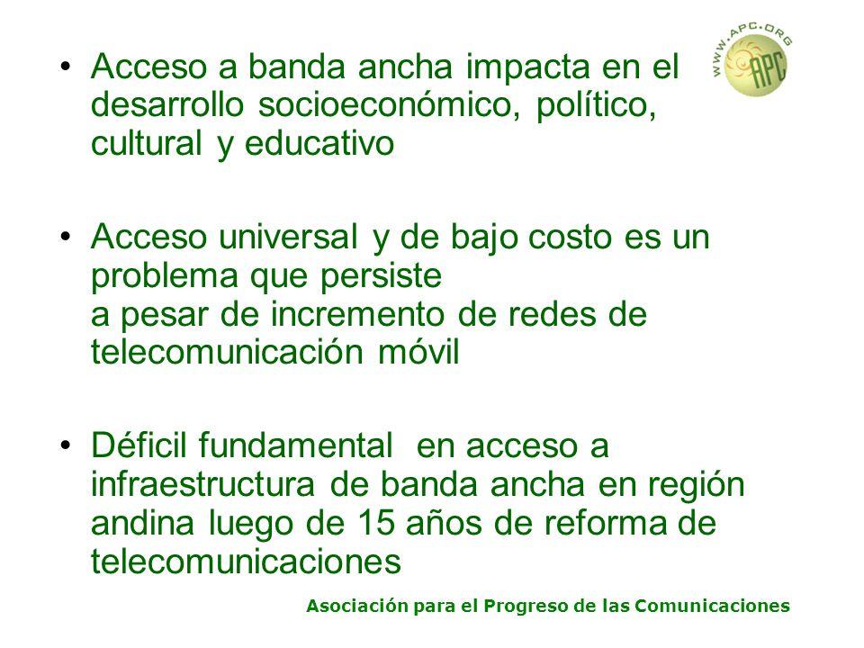 Asociación para el Progreso de las Comunicaciones Acceso a banda ancha impacta en el desarrollo socioeconómico, político, cultural y educativo Acceso universal y de bajo costo es un problema que persiste a pesar de incremento de redes de telecomunicación móvil Déficil fundamental en acceso a infraestructura de banda ancha en región andina luego de 15 años de reforma de telecomunicaciones