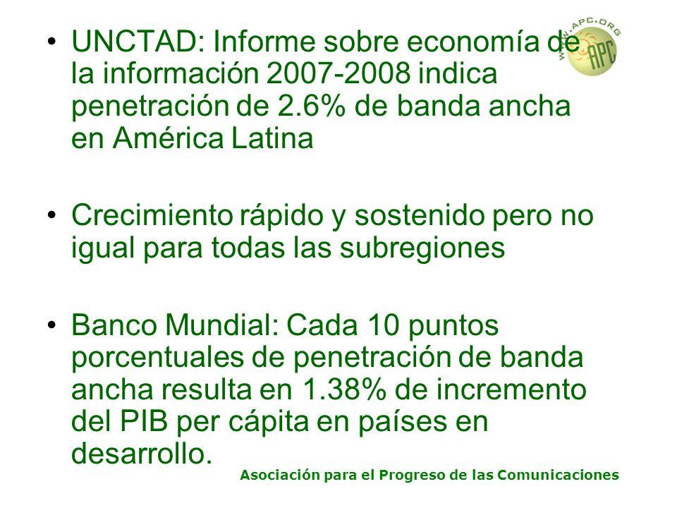 Asociación para el Progreso de las Comunicaciones UNCTAD: Informe sobre economía de la información 2007-2008 indica penetración de 2.6% de banda ancha en América Latina Crecimiento rápido y sostenido pero no igual para todas las subregiones Banco Mundial: Cada 10 puntos porcentuales de penetración de banda ancha resulta en 1.38% de incremento del PIB per cápita en países en desarrollo.