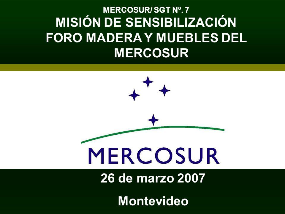 MERCOSUR/ SGT Nº. 7 MISIÓN DE SENSIBILIZACIÓN FORO MADERA Y MUEBLES DEL MERCOSUR 26 de marzo 2007 Montevideo