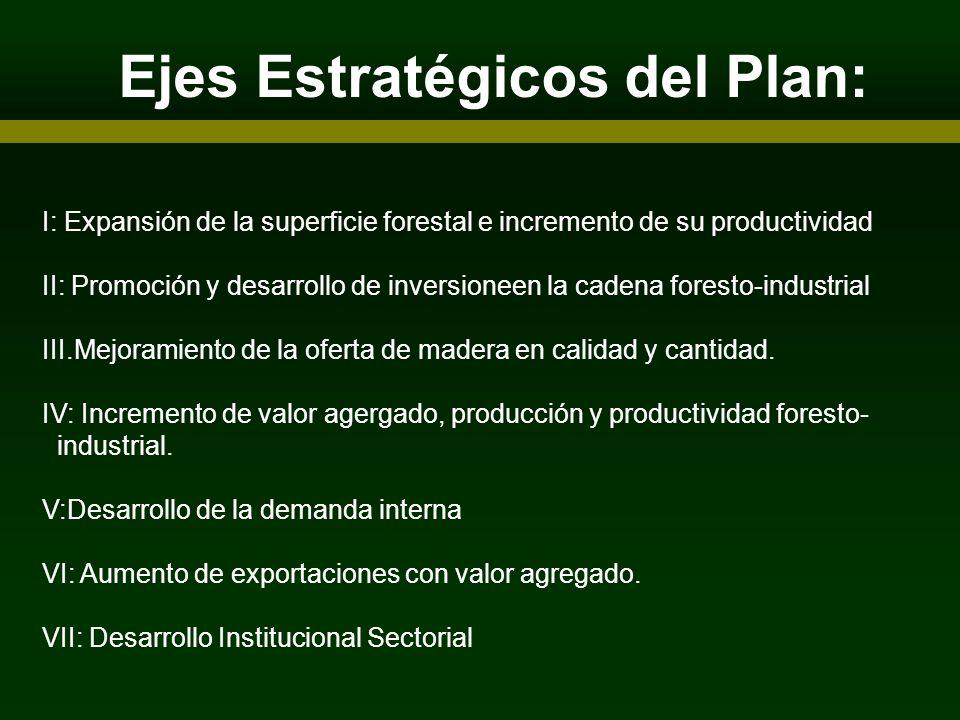 Ejes Estratégicos del Plan: ARTICIPANTES I: Expansión de la superficie forestal e incremento de su productividad II: Promoción y desarrollo de inversi