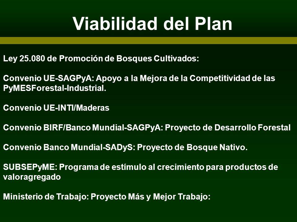 Viabilidad del Plan ARTICIPANTES Ley 25.080 de Promoción de Bosques Cultivados: Convenio UE-SAGPyA: Apoyo a la Mejora de la Competitividad de las PyME
