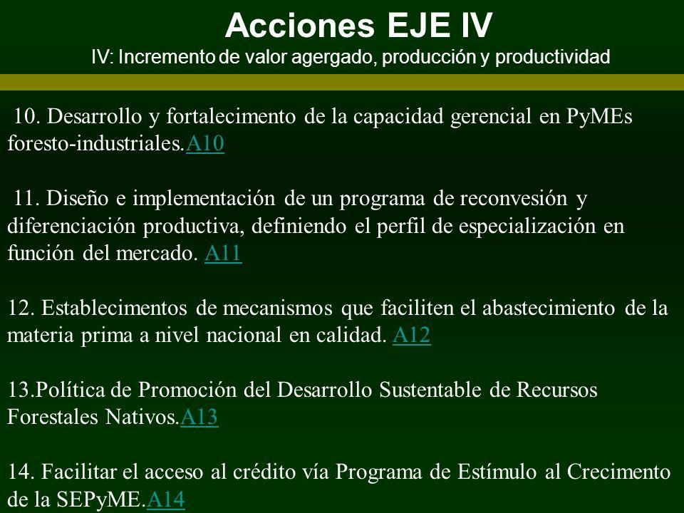 Acciones EJE IV IV: Incremento de valor agergado, producción y productividad 10. Desarrollo y fortalecimento de la capacidad gerencial en PyMEs forest