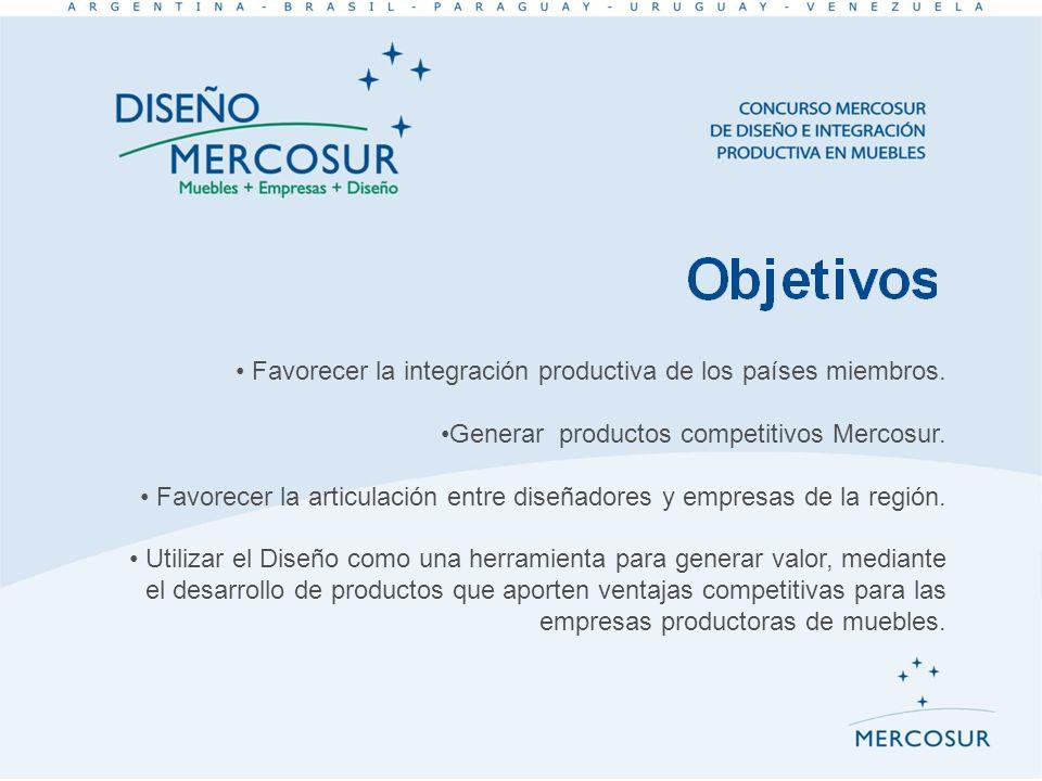 Favorecer la integración productiva de los países miembros. Generar productos competitivos Mercosur. Favorecer la articulación entre diseñadores y emp