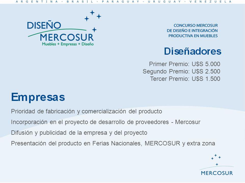 Primer Premio: U$S 5.000 Segundo Premio: U$S 2.500 Tercer Premio: U$S 1.500 Prioridad de fabricación y comercialización del producto Incorporación en
