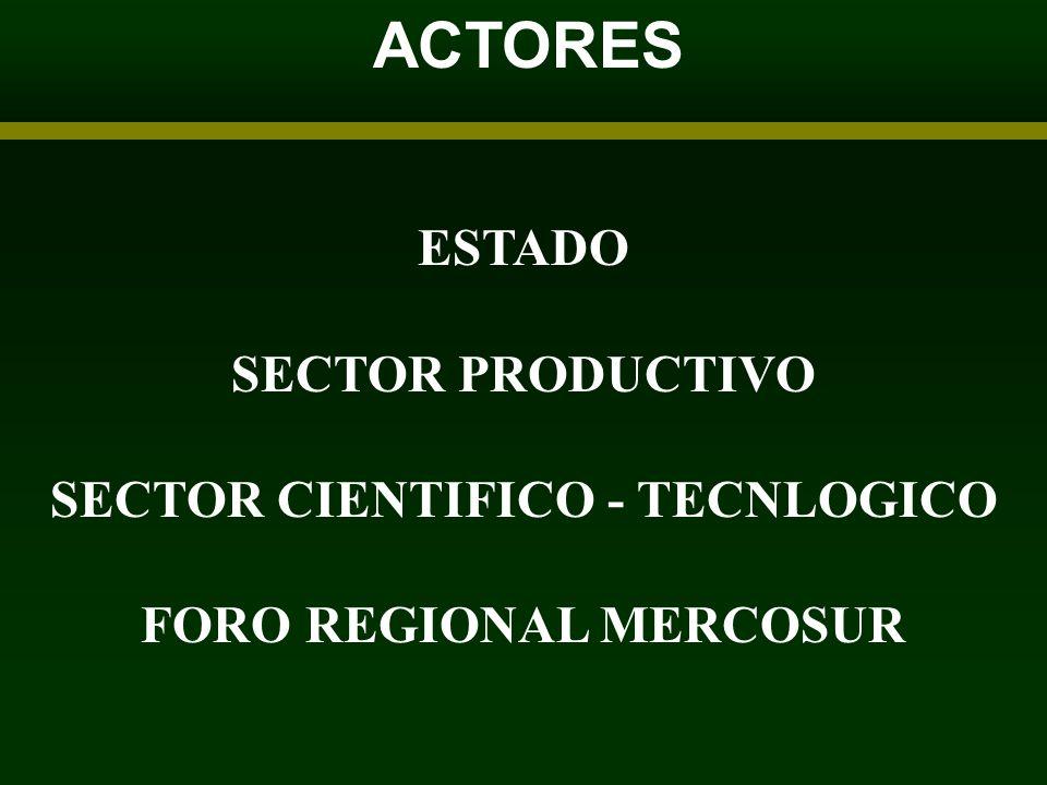 ACTORES ESTADO SECTOR PRODUCTIVO SECTOR CIENTIFICO - TECNLOGICO FORO REGIONAL MERCOSUR