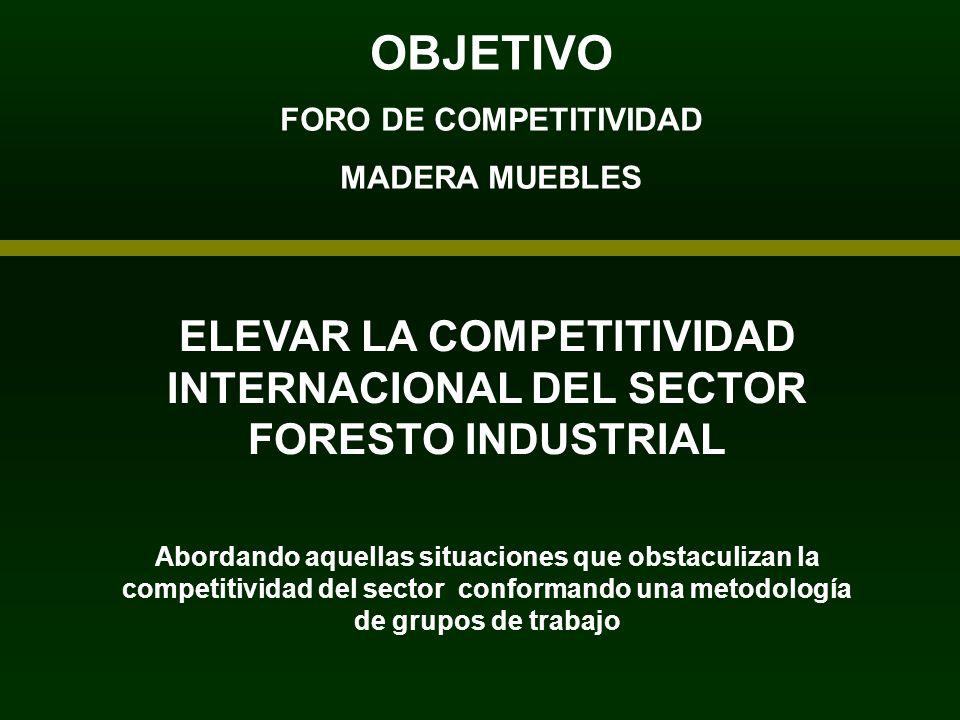 OBJETIVO FORO DE COMPETITIVIDAD MADERA MUEBLES ELEVAR LA COMPETITIVIDAD INTERNACIONAL DEL SECTOR FORESTO INDUSTRIAL Abordando aquellas situaciones que