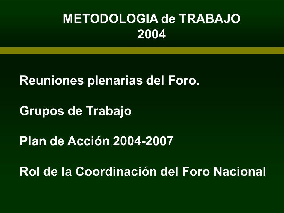 Reuniones plenarias del Foro. Grupos de Trabajo Plan de Acción 2004-2007 Rol de la Coordinación del Foro Nacional METODOLOGIA de TRABAJO 2004