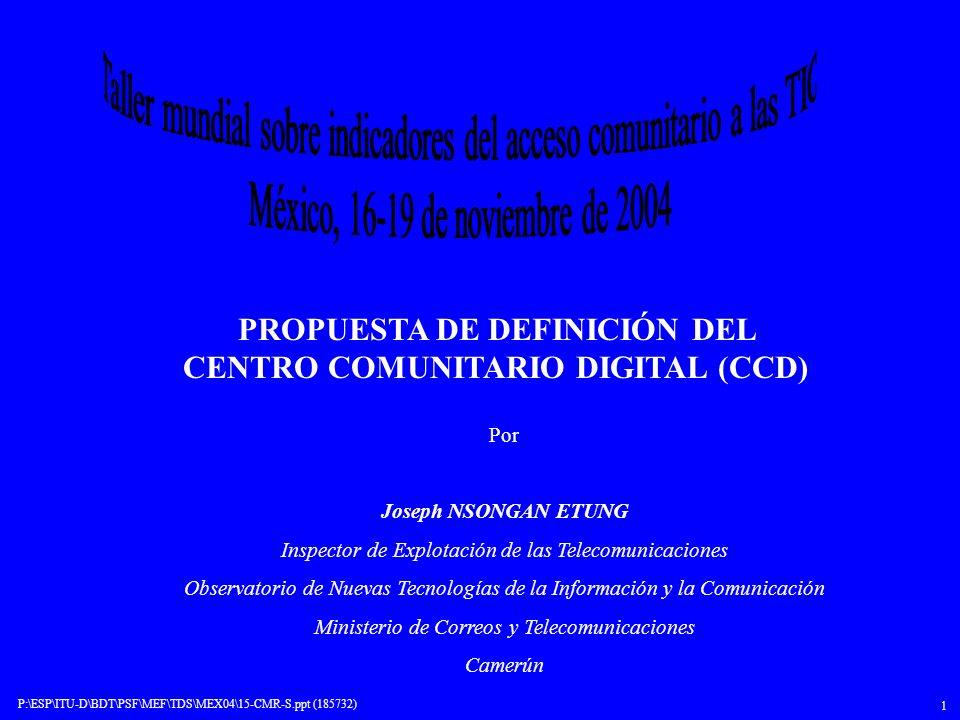P:\ESP\ITU-D\BDT\PSF\MEF\TDS\MEX04\15-CMR-S.ppt (185732) 2 ÍNDICE 1.Resumen de los debates anteriores sobre la conectividad comunitaria 2.Factores determinantes de la conectividad comunitaria 3.Alcance de la definición actual 4.Límite de la definición 5.Propuesta de definición del CCD 6.Conclusión