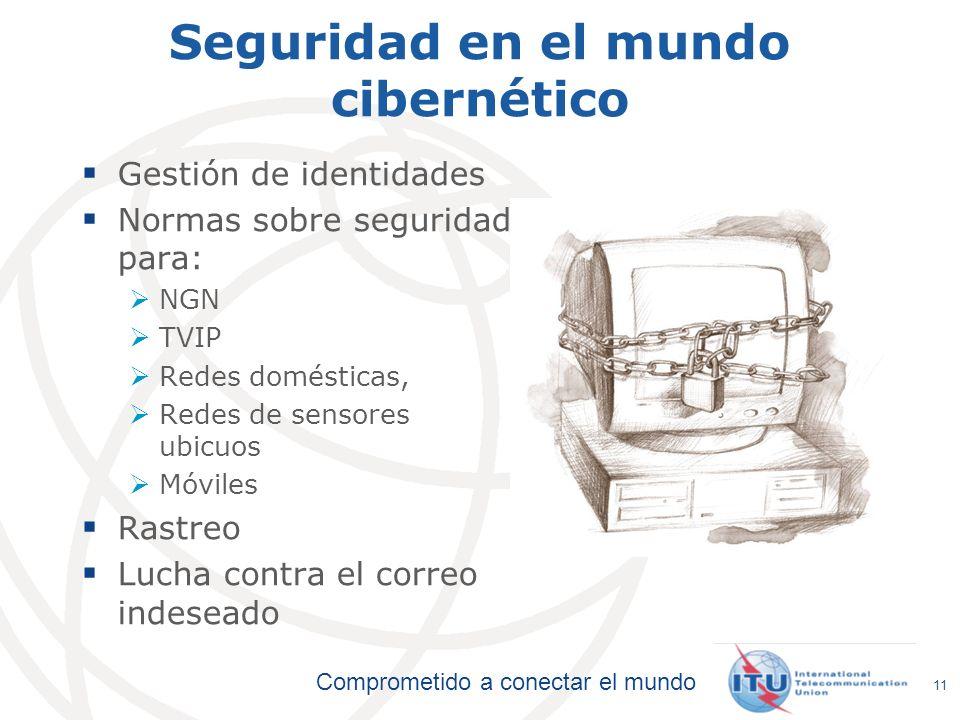 Comprometido a conectar el mundo 11 Seguridad en el mundo cibernético Gestión de identidades Normas sobre seguridad para: NGN TVIP Redes domésticas, R