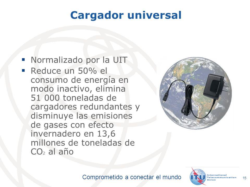 Comprometido a conectar el mundo Cargador universal Normalizado por la UIT Reduce un 50% el consumo de energía en modo inactivo, elimina 51 000 tonela